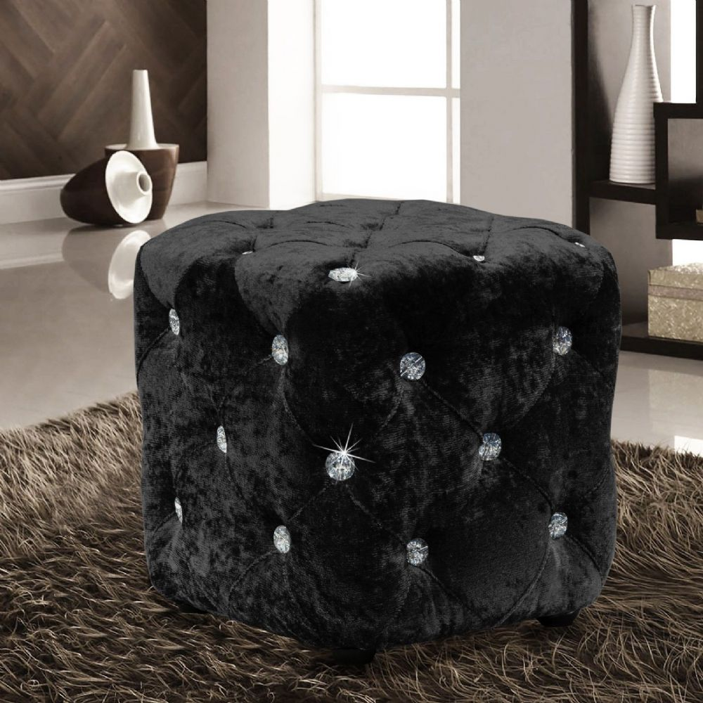 BLACK LUXURY CRUSHED VELVET DIAMANTE FOOT STOOL CUSHION CUBE POUFFE DESIGNER FURNITURE